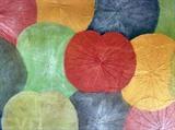 Un tableau créé à partir des feuilles du lotus colorées à Huê (Centre). Photo: Quôc Viêt/VNA/CVN
