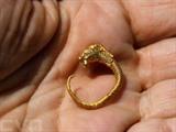Boucle d'oreille en or de style héllénistique, datant de 2.200 ans et représentant la tête d'un animal à cornes. Le bijou a été découvert à Jérusalem. . Photo: AFP/VNA/CVN