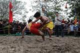 Lutteurs en compétition lors du Festival de la lutte à la fête du Têt de l'Année du Rat 2020. Photo : Hô Câu/VNA/CVN