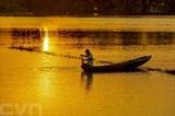 La pêche dans un champs inondé à Hâu Giang (Sud). Photo : VNA/CVN
