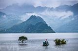 Le lac réservoir de Hoà Binh, construit sur la rivière Dà (rivière Noire), alimente la centrale hydraulique éponyme. Photo : VNA/CVN