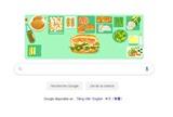 Le <em>banh mi </em>(sandwich vietnamien) est devenu la première nourriture du Vietnam honorée par un dessin du logo sur le site web google.com, le 24 mars. Photo : Nguyên Tùng/CVN<br />