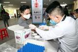 Donneurs de sang lors d'une collecte à Hanoï, le 14 avril. Photo : Anh Tuân/VNA/CVN