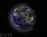 Image d'illustration de la société australienne Electro Optic Systems (EOS) en juillet 2010 montre une vue de la Terre entourée par des milliers de débris spatiaux. Photo : AFP/VNA/CVN<br />