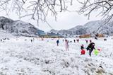 Les gens s'amusent dans la montagne Jinfo à Chongqing (Sud-Ouest de la Chine) couverte de neige. Photo : Xinhua/VNA/CVN<br />
