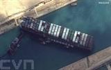 Image satellite diffusée le 28 mars par Maxar Technologies du porte-conteneurs Ever Given bloquant le canal de Suez. Photo : AFP/VNA/CVN